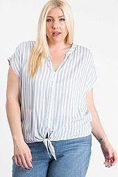 PLUS STRIPE CAP SLEEVE SHIRTS