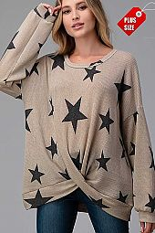 STAR TWIST HEM LOOSE FIT TOP PLUS