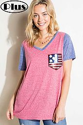 4TH OF JULY AMERICAN FLAG PK COLOR BLOCK PLUS TOP