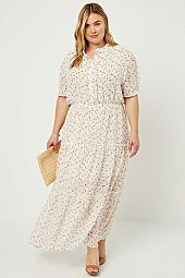 Floral Button-Down Ruffle  Maxi Dress