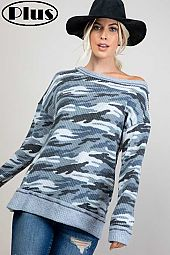WAFFLE CAMOUFLAGE MIXED ONE SHOULDER PLUS TOP