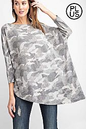 Plus Tri Blend Camouflage Knit Top