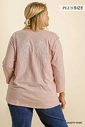 Back Angel Wing Embroidered Round Neck Top