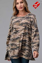 CAMO SLIT SIDE BANDED TOP PLUS