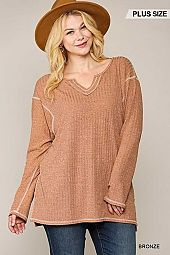 Two-Tone Ribbed Tunic Top
