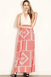 SURPLICE CROCHET CAFTAN MAXI DRESS