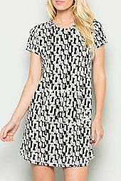 SCALE PRINT FRENCH TERRY KNIT DRESS