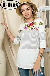 SOLID STRIPE FLORAL MIXED HALF SLEEVE PLUS TOP