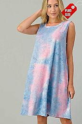 TIE DYE BACK DETAIL DRESS PLUS