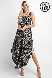 Plus Sleeveless Animal Printed Maxi Dress