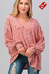 FLORAL V-NECK PUFF SLEEVE TOP PLUS