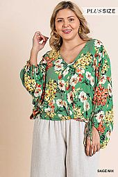 FLORAL PRINT PUFF SLEEVE V NECK BLOUSE
