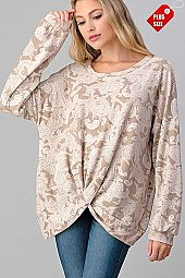 PAISLEY TWIST HEM LOOSE FIT TOP PLUS