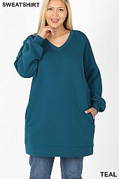 PLUS OVERSIZED V-NECK TUNIC LENGTH SWEATSHIRTS