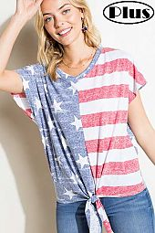 PLUS 4TH OF JULY AMERICAN FLAG PRINT MIX BOXY TOP