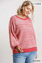 Round Neck Ribbed Hem Pullover Sweater