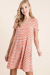 STRIPE FRENCH TERRY V NECK MINI DRESS