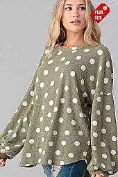 POLKA DOT  PUFF LONG SLEEVE TOP PLUS