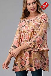 FLORAL SHIRRED SLEEVE SHOULDER TOP PLUS