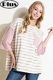 SOLID AND STRIPE PRINT COLOR BLOCK ROUND NECK TOP