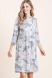 CAMO PRINT FRONT POCKET ROUND NECK DRESS