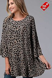 LEOPARD RUFFLE SLEEVE BOTTOM TOP PLUS