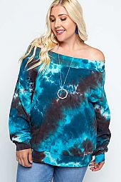 Tie Dye French Terry Off Shoulder Sweatshirt