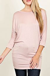 3/4 SLEEVE SOLID KNIT TUNIC