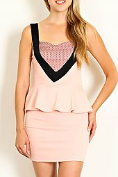 LACE ACCENT BODYCON PEPLUM DRESS