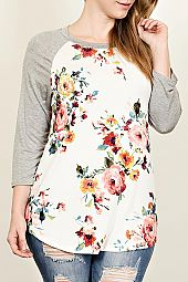 PLUS FLORAL RAGLAN TOP