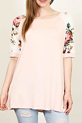 PLUS FLORAL SLEEVES JERSEY TOP