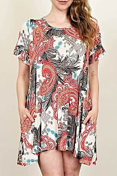PLUS PAISLEY TRAPEZE DRESS