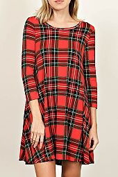 PLAID PRINT TRAPEZE DRESS