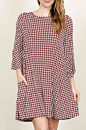 PLUS HOUNDSTOOTH TRAPEZE DRESS