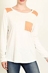 POCKET AND SHOULDER TRIM KNIT TOP