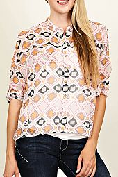 DIAMOND PRINT BUTTON UP TOP