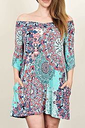 PLUS MEDALLION PRINT OFF SHOULDER DRESS