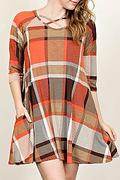 PLUS PLAID TRAPEZE DRESS