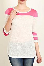 SHEER KNIT CIRCLE HEM JERSEY TOP