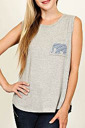 TRIBAL ELEPHANT PRINT POCKET SLEEVELESS TOP