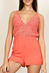 CLEAVAGE BOHO LACE COMBO ROMPERS