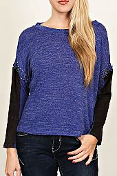 COLORBLOCK SPIKE STUD TRIM PULLOVER