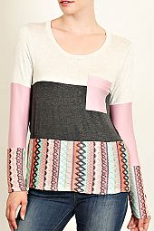 ETHNIC PRINT COLOR BLOCK TOP