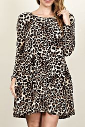 ANIMAL PRINT KNIT TRAPEZE DRESS