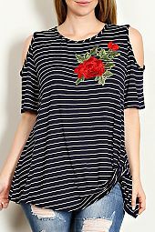FLORAL PATCH ACCENT STRIPE PRINT TOP