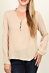 V-NECK PARTIAL BUTTON DOWN KNIT TOP