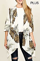 PLUS LEAF PRINT CARDIGAN