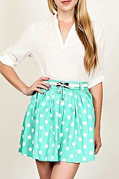 BELTED POLKA DOT PRINT SKIRT