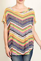 COLORFUL CHEVRON PRINT KNIT TOP