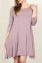 ROUND NECK SOLID JERSEY DRESS